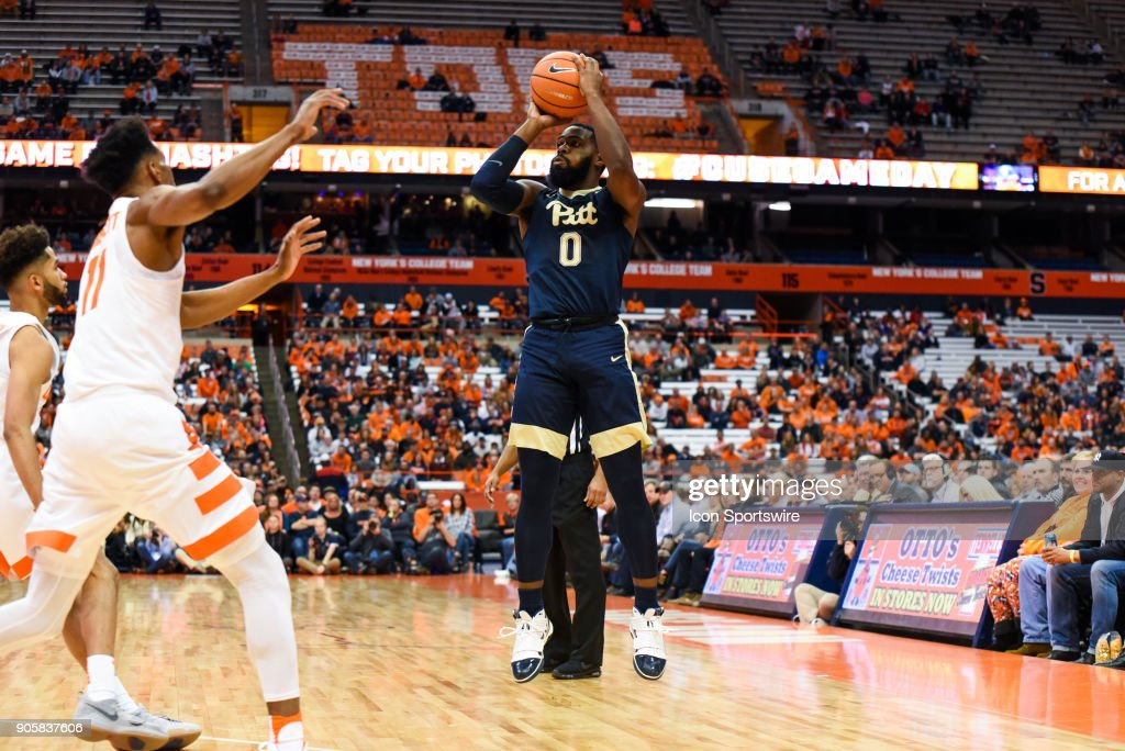 Jared Wilson-Frame #0 of the Pittsburgh Panthers shoots the ball during the first half of play between the Syracuse Orange and the Pittsburgh Panthers on January 16th, 2018 at the Carrier Dome in Syracuse, NY.