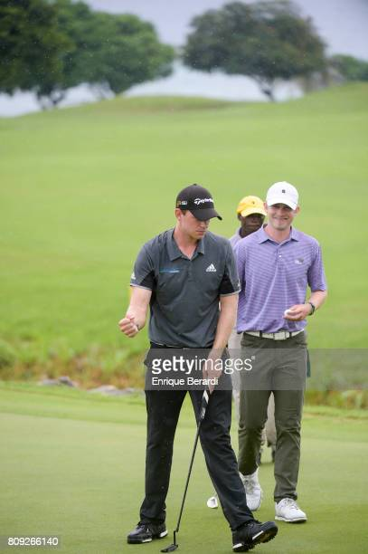 Jared Wolfe of the United States celebrates a birdie putt on the seventh hole during the second round of the PGA TOUR Latinoamerica BMW Jamaica...