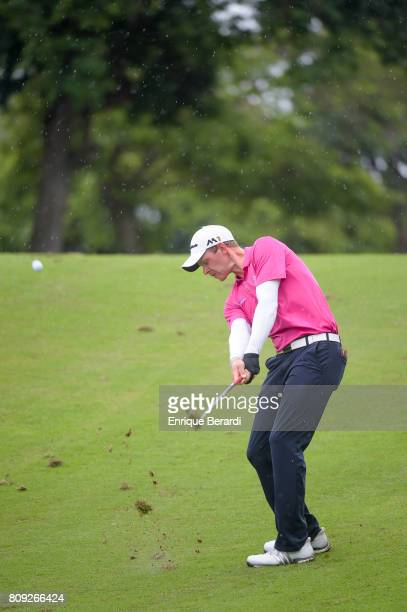 Jared Wolfe of the United States hits from the 10th fairway during the final round of the PGA TOUR Latinoamerica BMW Jamaica Classic at Cinnamon Hill...