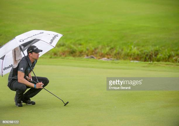 Jared Wolfe of the United States lines up a putt on the seventh green during the second round of the PGA TOUR Latinoamerica BMW Jamaica Classic at...