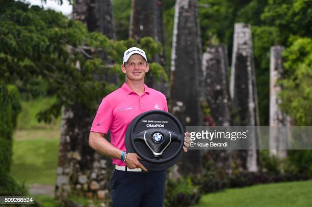Jared Wolfe of the United States poses with the trophy during the final round of the PGA TOUR Latinoamerica BMW Jamaica Classic at Cinnamon Hill Golf...