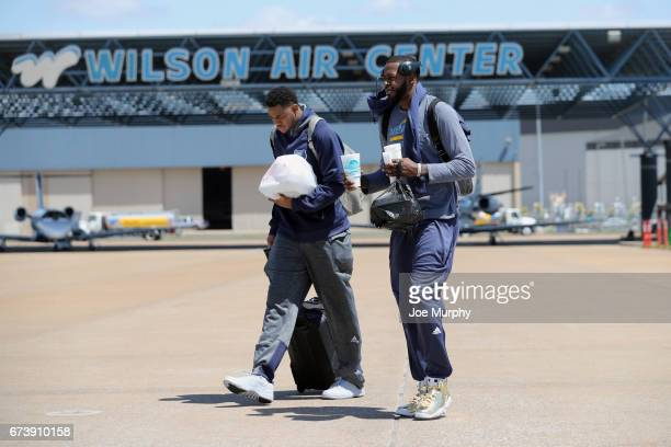 Jarell Martin and JaMychal Green of the Memphis Grizzlies board the team plane on the way to San Antonio on April 24 2017 at Wilson Air Center in...