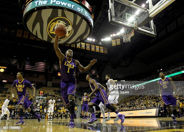 Jarell Martin of the LSU Tigers grabs a rebound during the game against the Missouri Tigers at Mizzou Arena on January 8 2015 in Columbia Missouri