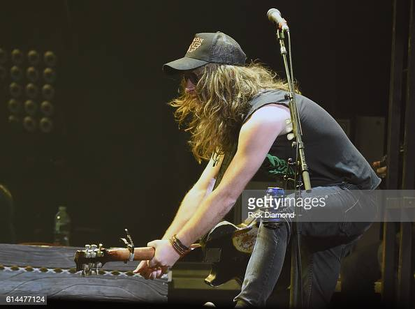 Jaren Johnston of The Cadillac Three performs on Florida Georgia Line Dig Your Roots 2016 Tour at Bridgestone Arena on October 13 2016 in Nashville...