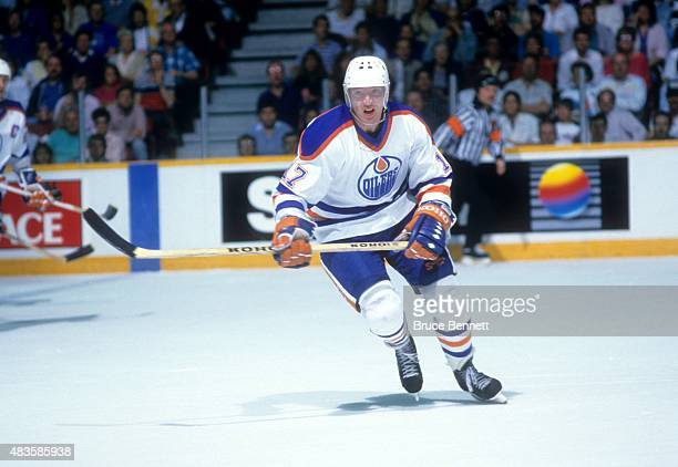 Jari Kurri of the Edmonton Oilers skates on the ice during the 1988 Stanley Cup Finals against the Boston Bruins in May 1988 at the Northlands...