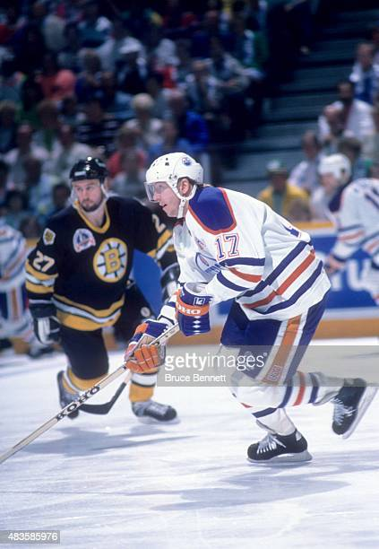 Jari Kurri of the Edmonton Oilers skates on the ice during the 1990 Stanley Cup Finals against the Boston Bruins in May 1990 at the Northlands...