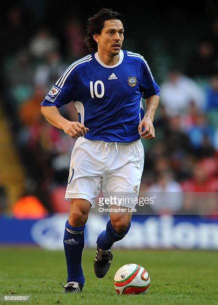 Jari Litmanen of Finland in action during the FIFA 2010 World Cup Qualifier Group 4 match between Wales and Finland at the Millennium Stadium on...