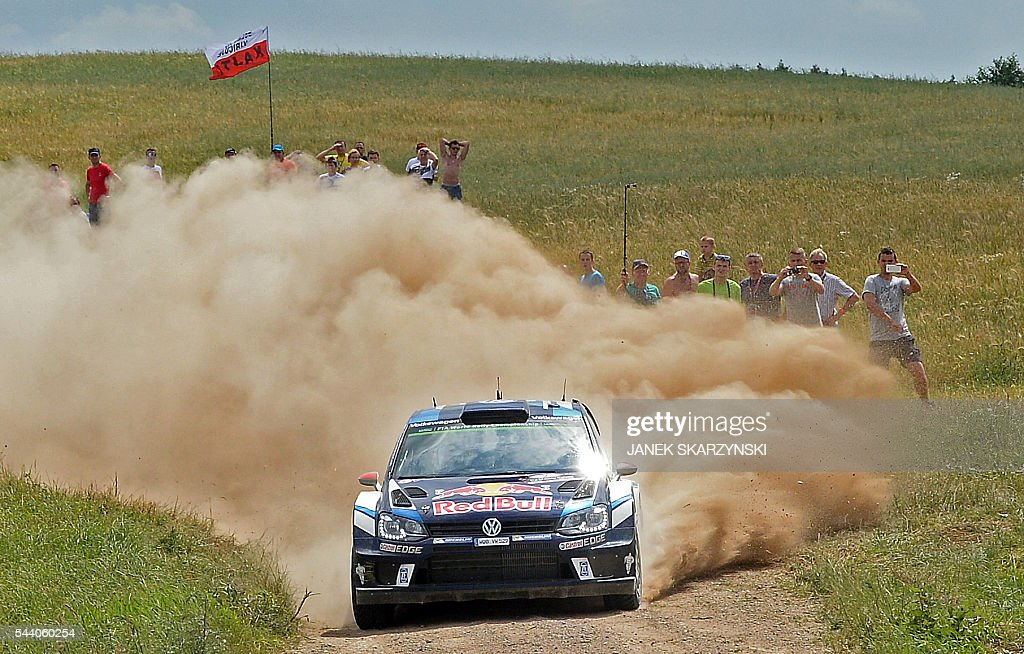 Jari Matti Latvala and co-driver Miikka Anttila of Finland drive their Volkswagen Polo R WRC during the special stage at Rally Poland, in Stare Juchy, Poland, on July 1, 2016. / AFP / JANEK