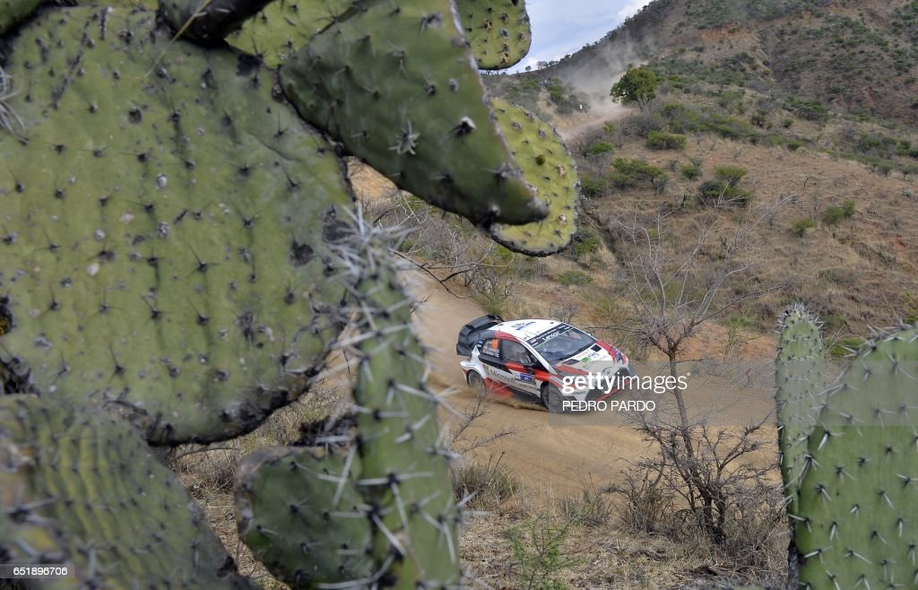 Jari Matti Latvala and his co-driver Miikka Anttila of Finland compete in their Toyota Yaris WRC during the 2017 FIA World Rally Championship in Leon, Guanajuato state, Mexico, on March 10, 2017. /