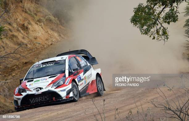 Jari Matti Latvala and his codriver Miikka Anttila of Finland compete in their Toyota Yaris WRC during the 2017 FIA World Rally Championship in Leon...