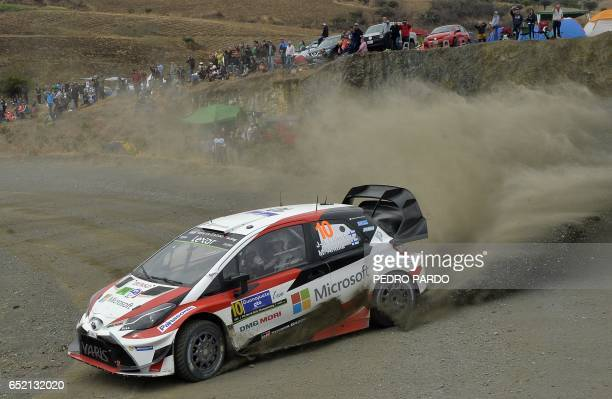 Jari Matti Latvala and his codriver Miikka Anttila of Finland compete in their Toyota Yaris WRC during the third day of the 2017 FIA World Rally...