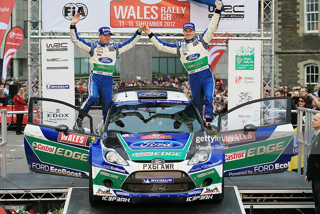 Jari Matti Latvala of Finland and Mikka Anttila of Finland are celebrating their victory during Day Three of the WRC Great Britain on September 16, 2012 in Cardiff , United Kingdom.