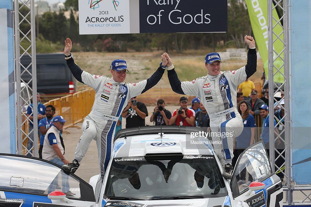 Jari Matti Latvala of Finland and Mikka Anttila of Finland celebrate their victory during Day Two of the WRC Greece on June 02, 2013 in Loutraki, Greece.