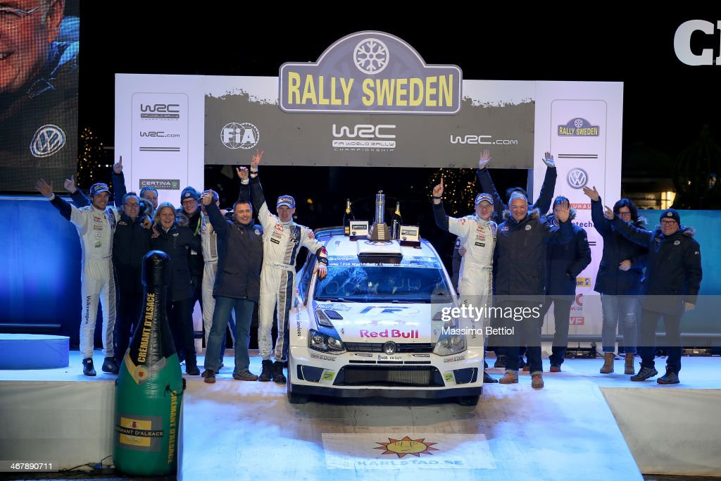 Jari Matti Latvala of Finland and Mikka Anttila of Finland celebrate their victory in the final podium during Day Three of the WRC Sweden on February...