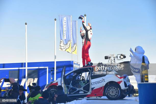 Jari Matti Latvala of Finland and Mikka Anttila of Finland celebrate their victory in the final podium in Torsby during Day Three of the WRC Sweden...