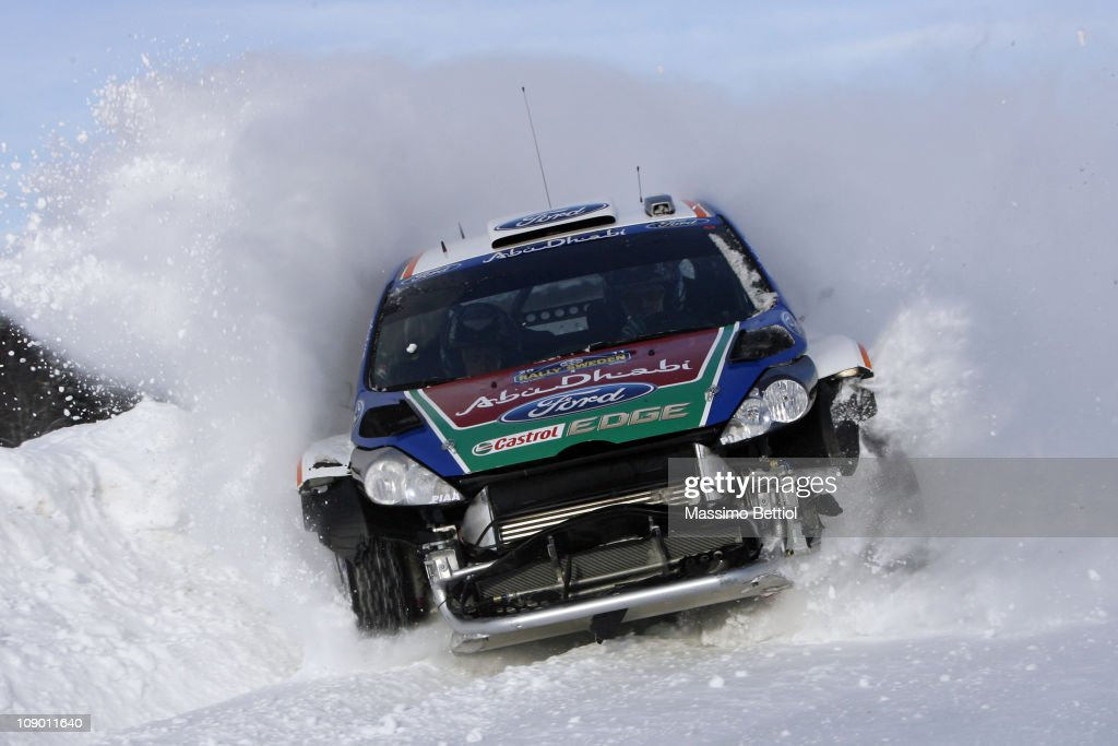 Jari Matti Latvala of Finland and Mikka Anttila of Finland compete in their Ford Abu Dhabi World Rally Team Ford Fiesta RS WRC during day one of the...