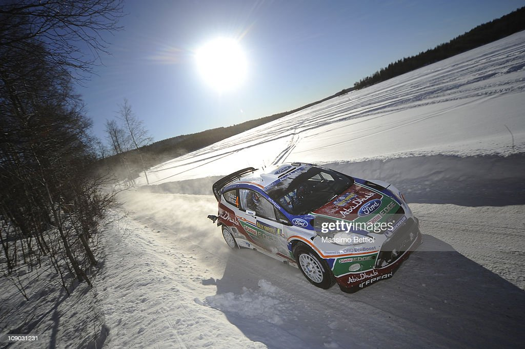 Jari Matti Latvala of Finland and Mikka Anttila of Finland compete in their Ford Abu Dhabi World Rally Team Ford Fiesta RS WRC during Leg2 of the WRC...