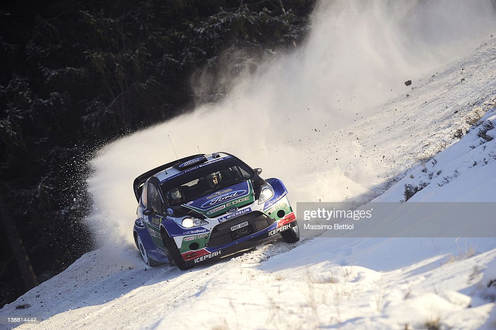 Jari Matti Latvala of Finland and Mikka Anttila of Finland compete in their Ford WRT Ford Fiesta RS WRC during Day3 of the WRC Rally Sweden on February 12, 2012 in Karlstad, Sweden.