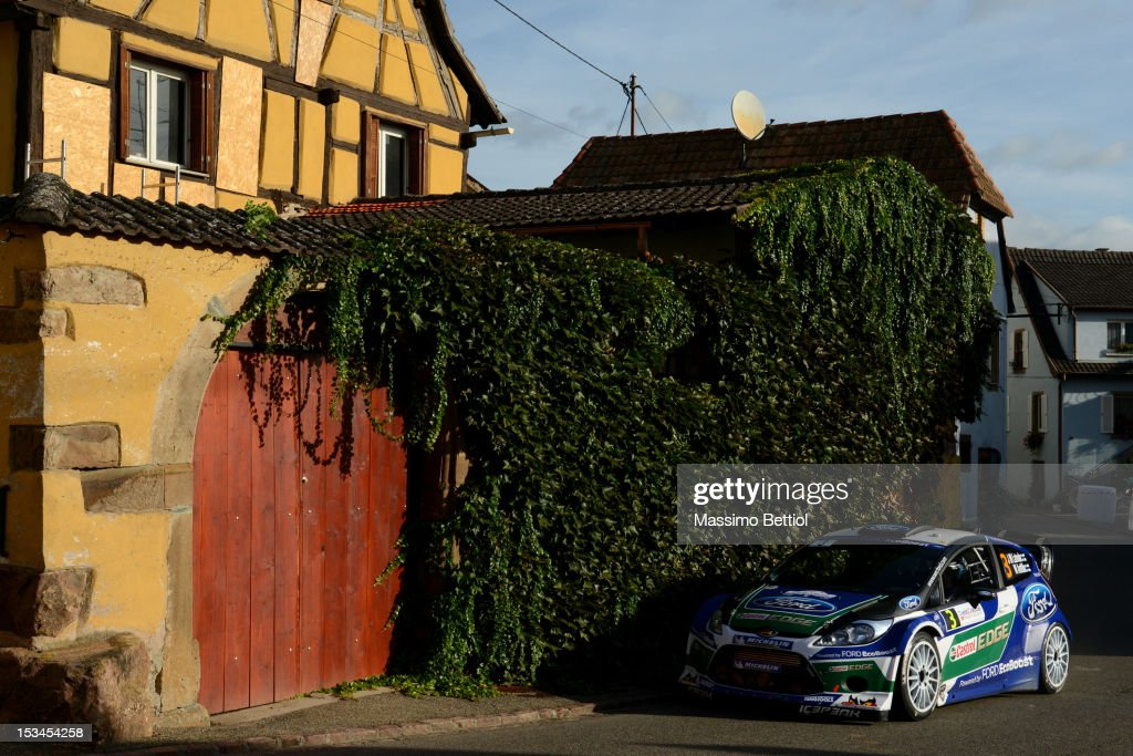 Jari Matti Latvala of Finland and Mikka Anttila of Finland compete in their Ford WRT Ford Fiesta RS WRC during Day One of the WRC Rally of France on October 05, 2012 in Strasbourg, France.