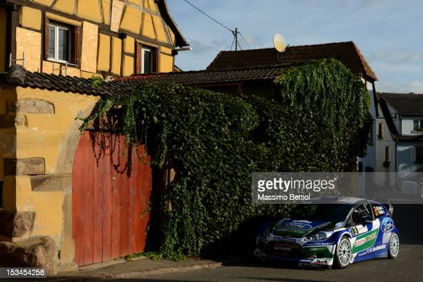 Jari Matti Latvala of Finland and Mikka Anttila of Finland compete in their Ford WRT Ford Fiesta RS WRC during Day One of the WRC Rally of France on...