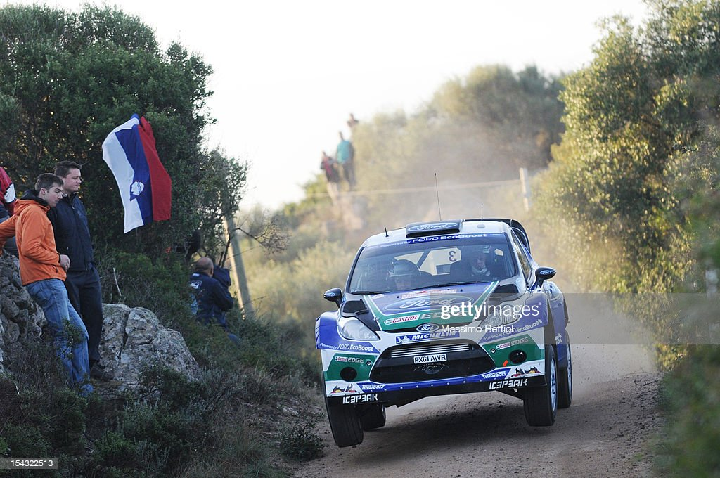 Jari Matti Latvala of Finland and Mikka Anttila of Finland compete in their Ford WRT Ford Fiesta RS WRC during the Shakedown of the WRC Italy on October 18, 2012 in Olbia ,Italy.