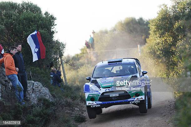 Jari Matti Latvala of Finland and Mikka Anttila of Finland compete in their Ford WRT Ford Fiesta RS WRC during the Shakedown of the WRC Italy on...