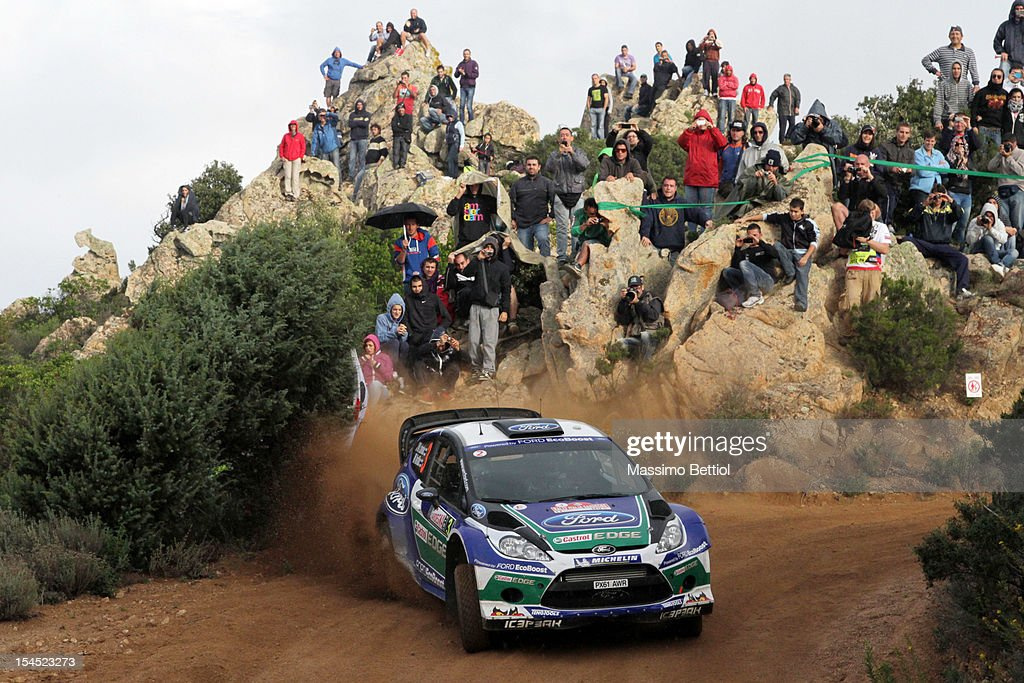 Jari Matti Latvala of Finland and Mikka Anttila of Finland compete in their Ford WRT Ford Fiesta RS WRC during Day Three of the WRC Italy on October 21, 2012 in Olbia ,Italy.