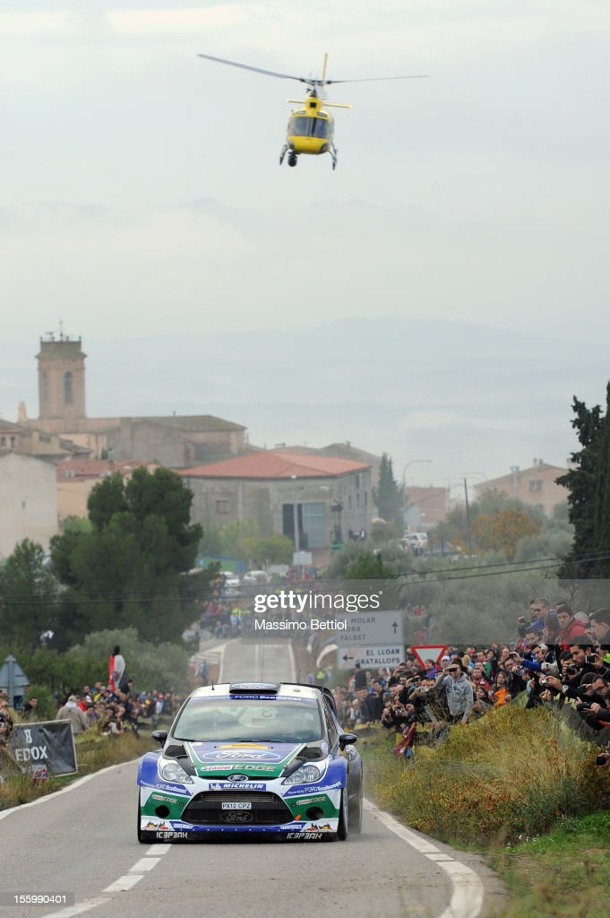 Jari Matti Latvala of Finland and Mikka Anttila of Finland compete in their Ford WRT Ford Fiesta RS WRC during Day Two of the WRC Spain on November 10, 2012 in Salou , Spain.