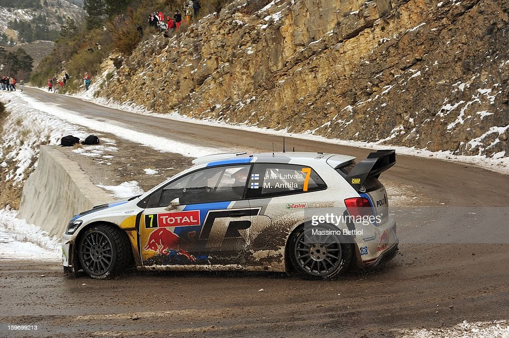 Jari Matti Latvala of Finland and Mikka Anttila of Finland compete in their Volkswagen Motorsport Volkswagen Polo WRC during Day Three of the WRC Monte-Carlo on January 18, 2013 in Montecarlo, Monaco.