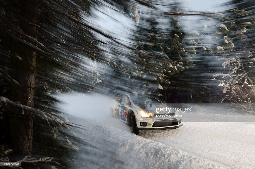 Jari Matti Latvala of Finland and Mikka Anttila of Finland compete in their Volkswagen Motorsport WRT Volkswagen Polo R WRC during the Shakedown of the WRC Sweden on February 07, 2013 in Karlstad, Sweden.
