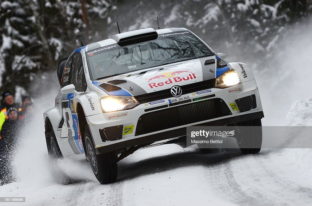 Jari Matti Latvala of Finland and Mikka Anttila of Finland compete in their Volkswagen Motorsport Volkswagen Polo R WRC during Day Two of the WRC Sweden on February 09 , 2013 in Karlstad , Sweden.