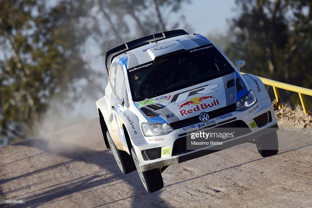 Jari Matti Latvala of Finland and Mikka Anttila of Finland compete in their Volkswagen Motorsport Polo R WRC during Day Two of the WRC Mexico on March 09, 2013 in Leon, Mexico.