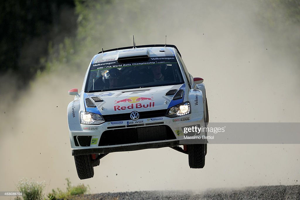Jari Matti Latvala of Finland and Mikka Anttila of Finland compete in their Volkswagen Motorsport Polo R WRC during Day One of the WRC Finland on August 1, 2014 in Jyvaskyla, Finland.