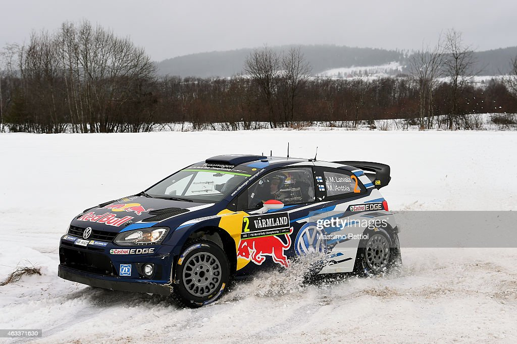 Jari Matti Latvala of Finland and Mikka Anttila of Finland compete in their Volkswagen Motorsport Polo R WRC during Day One of the WRC Sweden on...