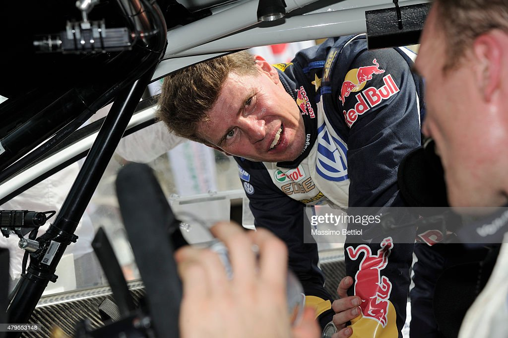 Jari Matti Latvala of Finland and Mikka Anttila of Finland compete in their Volkswagen Motorsport Volkswagen Polo R WRC during Day Three of the WRC Poland on July 5, 2015 in Mikolajki, Poland.