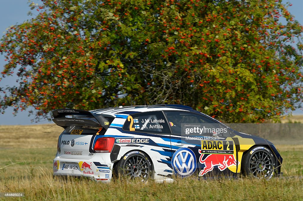 Jari Matti Latvala of Finland and Mikka Anttila of Finland compete in their Volkswagen Motorsport Volkswagen Polo R WRC during Day Two of the WRC Germany on August 22, 2015 in Trier, Germany.