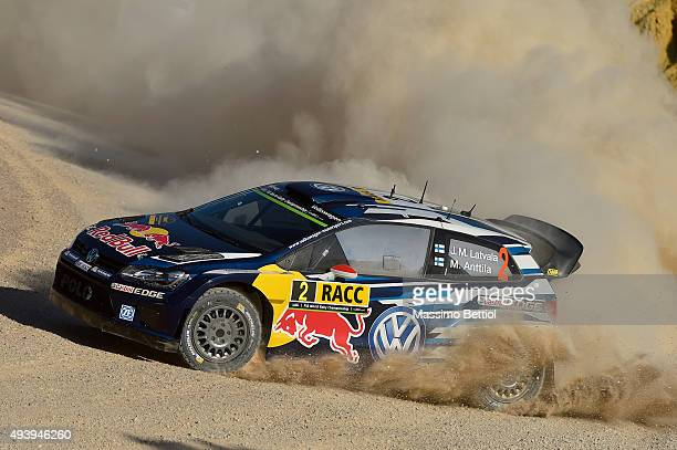Jari Matti Latvala of Finland and Mikka Anttila of Finland compete in their Volkswagen Motorsport Volkswagen Polo R WRC during Day One of the WRC...