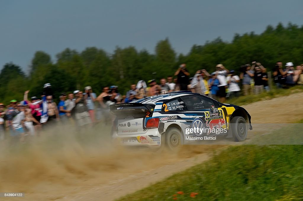 Jari Matti Latvala of Finland and Mikka Anttila of Finland compete in their Volkswagen Motorsport WRT Volkswagen Polo R WRC during the Shakedown of the WRC Poland on June 30, 2016 in Mikolajki, Poland.
