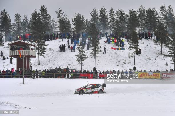Jari Matti Latvala of Finland and Mikka Anttila of Finland compete in their Toyota Gazoo Racing WRT Toyota Yaris WRC during Day Three of the WRC...
