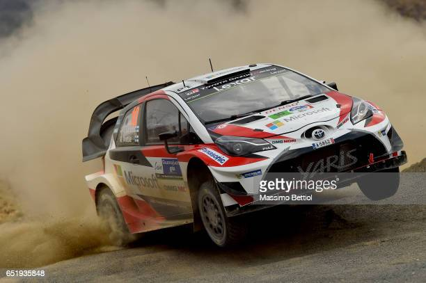 Jari Matti Latvala of Finland and Mikka Anttila of Finland compete in their Toyota Gazoo Racing WRT Toyota Yaris WRC during Day One of the WRC Mexico...