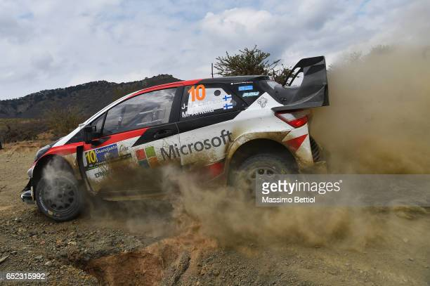 Jari Matti Latvala of Finland and Mikka Anttila of Finland compete in their Toyota Gazoo Racing WRT Toyota Yaris WRC during Day Two of the WRC Mexico...