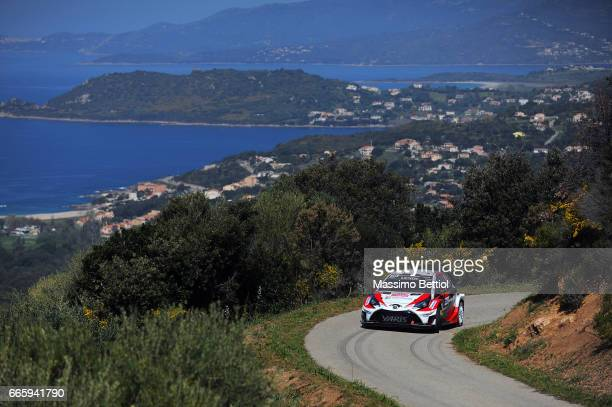 Jari Matti Latvala of Finland and Mikka Anttila of Finland compete in their Toyota Gazoo Racing WRT Toyota Yaris WRC during Day One of the WRC France...