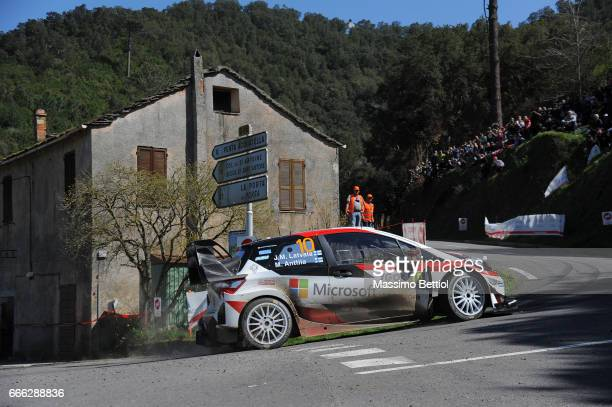 Jari Matti Latvala of Finland and Mikka Anttila of Finland compete in their Toyota Gazoo Racing WRT Toyota Yaris WRC during Day Two of the WRC France...