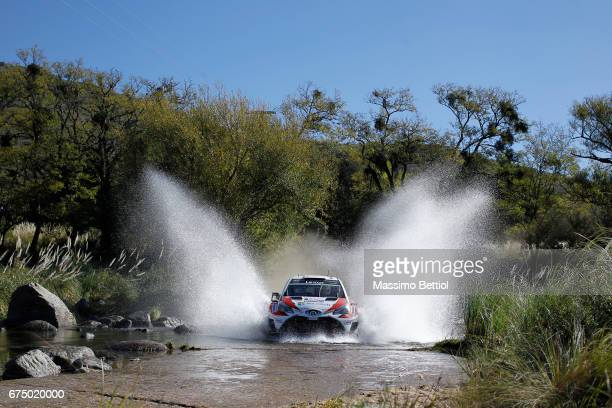 Jari Matti Latvala of Finland and Mikka Anttila of Finland compete in their Toyota Gazoo Racing WRT Toyota Yaris WRC during Day Two of the WRC...