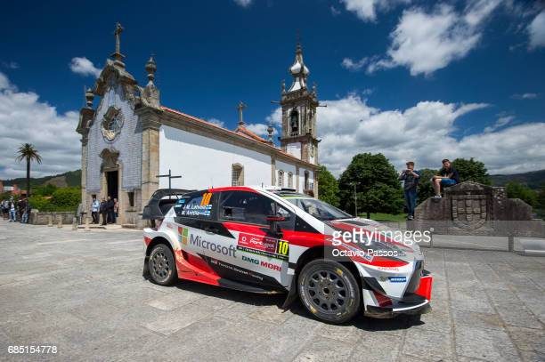 Jari Matti Latvala of Finland and Mikka Anttila of Finland compete in their Toyota Gazoo Racing WRT Toyota Yaris WRC during the SS4 Ponte de Lima of...