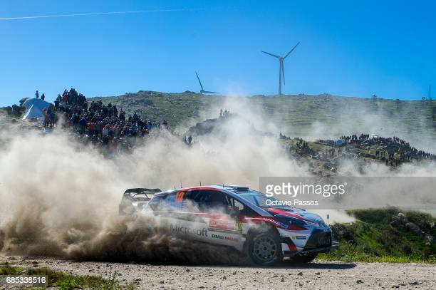 Jari Matti Latvala of Finland and Mikka Anttila of Finland compete in their Toyota Gazoo Racing WRT Toyota Yaris WRC during the SS6 Caminha of the...