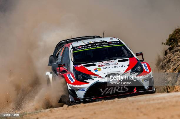 Jari Matti Latvala of Finland and Mikka Anttila of Finland compete in their Toyota Gazoo Racing WRT Toyota Yaris WRC during the SS12 Amarante of the...