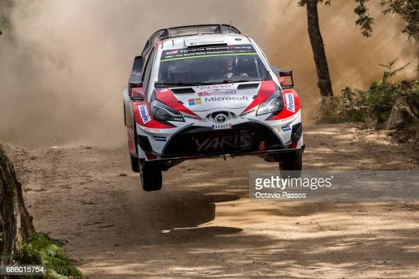 Jari Matti Latvala of Finland and Mikka Anttila of Finland compete in their Toyota Gazoo Racing WRT Toyota Yaris WRC during the SS15 Amarante of the...