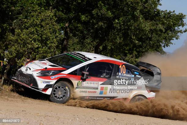 Jari Matti Latvala of Finland and Mikka Anttila of Finland compete in their Toyota Gazoo Racing WRT Toyota Yaris WRC during Day One of the WRC Italy...