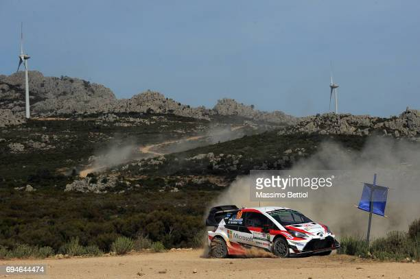Jari Matti Latvala of Finland and Mikka Anttila of Finland compete in their Toyota Gazoo Racing WRT Toyota Yaris WRC during Day Two of the WRC Italy...